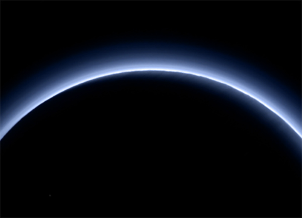 Pluto's atmosphere shines blue in this color image from New Horizons (NASA/JHUAPL/SwRI)