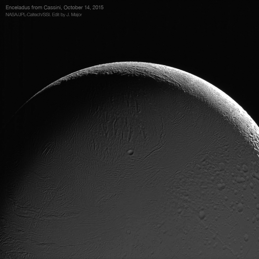 A view of the Saturn-lit night side of Enceladus from Oct. 14, 2015.