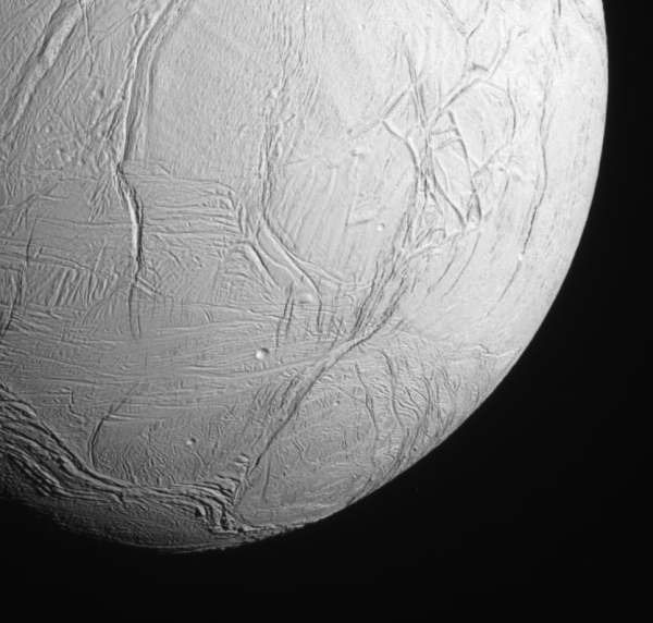 The southern hemisphere of Enceladus imaged by Cassini upon approach on Oct. 28, 2015.