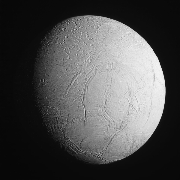 Full-globe image of Enceladus captured by Cassini before the flyby on Oct. 28, 2015. (NASA/JPL-Caltech/SSI. Edited by J. Major.)