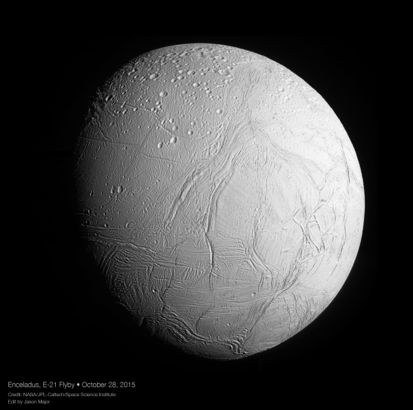 Hi-res mosaic of Enceladus, Oct. 28, 2015. (NASA/JPL-Caltech/SSI. Edit by J. Major.)