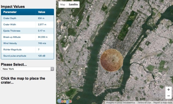 The crater left from a direct hit by TB145 would stretch clear across Manhattan island! (Down 2 Earth Crater Impact calculator)