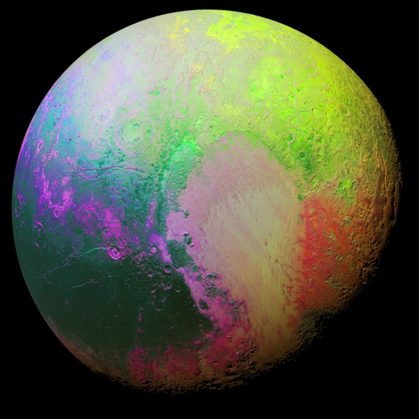 "This ""psychedelic"" picture of Pluto accentuates the subtlest color differences across its surface. (Credit: NASA/JHUAPL/SwRI)"