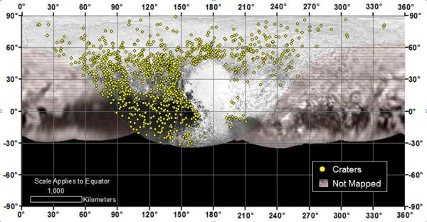 Locations of more than 1,000 craters mapped on Pluto by NASA's New Horizons mission indicate a wide range of surface ages, which likely means that Pluto has been geologically active throughout its history. (NASA/JHUAPL/SwRI)