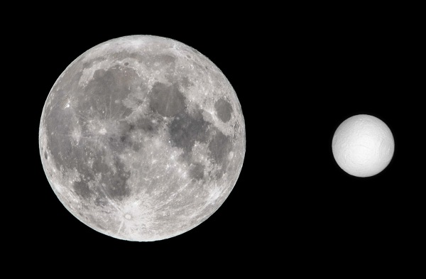Scale size of Tethys compared to Earth's Moon. (Moon pic by J. Major; Tethys credit NASA/JPL/SSI).