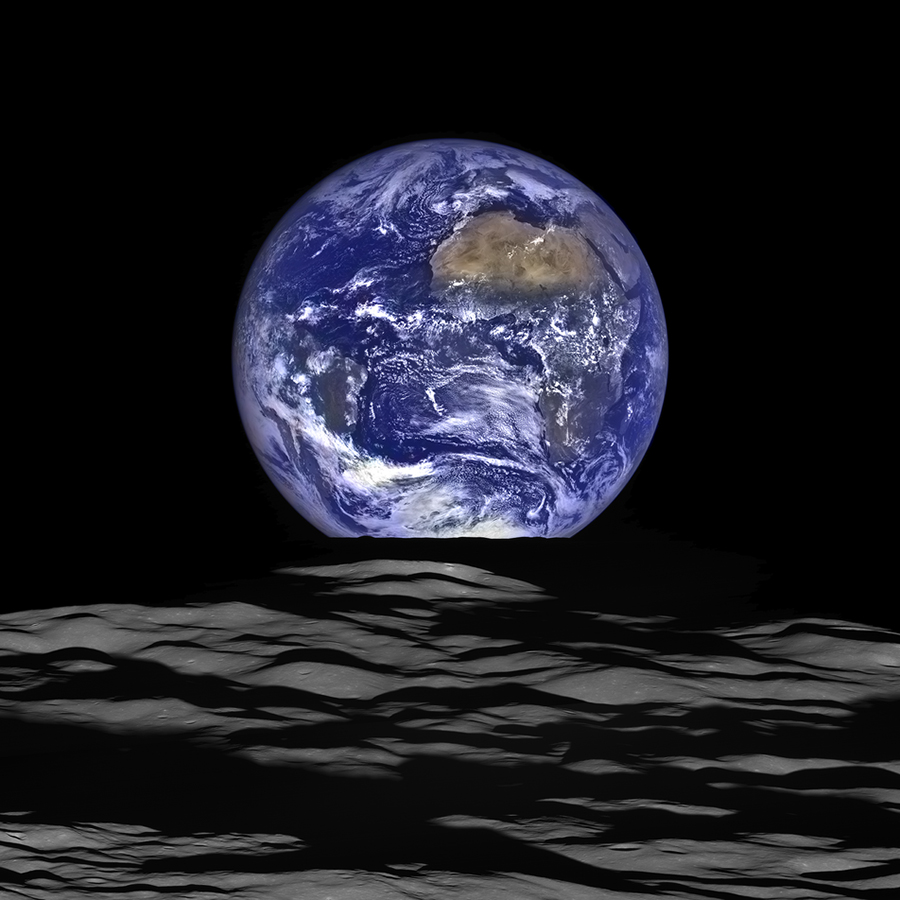 "An ""Earthrise"" over Compton crater as imaged by LRO on Oct. 12, 2015. Credit: NASA/GSFC/Arizona State University"