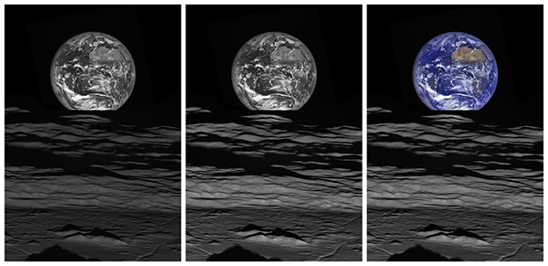 Original NAC image of Earth with the same contrast stretch (left), with brightness increased (center), and with the WAC color data added (right). (NASA/GSFC/ASU)