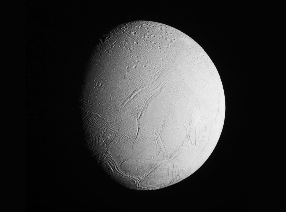 A full-globe image of Enceladus captured by Cassini on Dec. 19, 2015. (NASA/JPL/SSI. Edited by J. Major.)