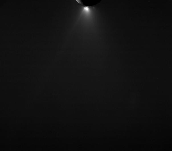 Enceladus' icy jets, seen here in backlit lighting on Dec. 19, 2015. (NASA/JPL/SSI)