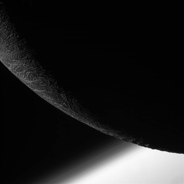 The limb of Enceladus imaged by Cassini from a distance of 15,000 miles (24,000 kilometers) on Dec. 19, 2015. (NASA/JPL/SSI)
