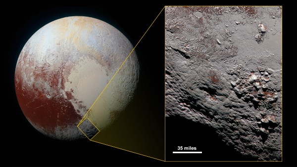 New Horizons LORRI image showing a cryovolcano on Pluto (NASA/JHUAPL/SwRI)