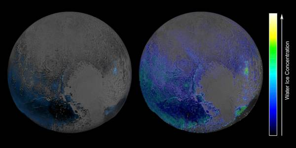 Initial scans of Pluto's water ice (left) and new interpretations taking into account other elements and compounds (right). Credit: NASA/JHUAPL/SwRI