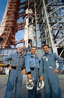 The Apollo 10 prime crew at Pad 39B, March 27, 1969 (NASA)
