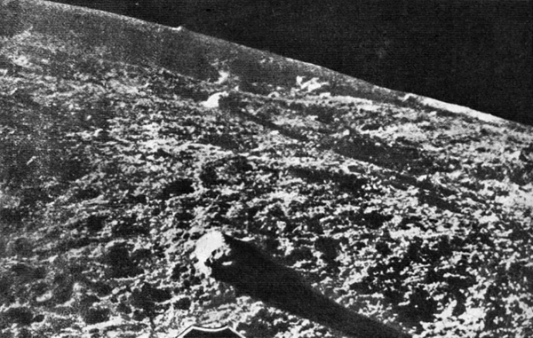 One of the first images from the surface of the Moon returned by Luna 9 on Feb. 4, 1966.