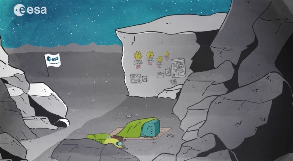 On the surface of comet 67P/C-G, Philae lies in sleep mode. (ESA)
