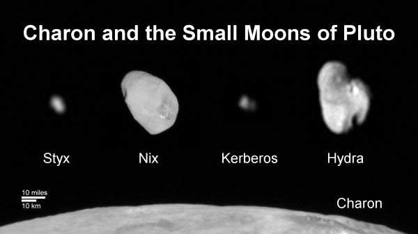 A family portrait of Pluto's moons. The 1,212-km (753 mile) Charon is seen in part along the bottom. (NASA/JHUAPL/SwRI)