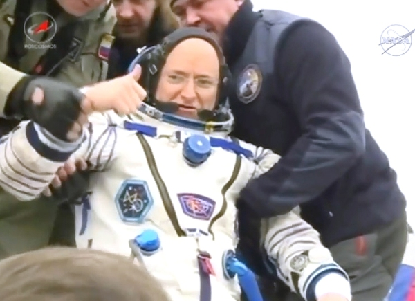 Astronaut Mark Kelly after exiting the Soyuz TMA-18M on March 1, 2016. (NASA TV)