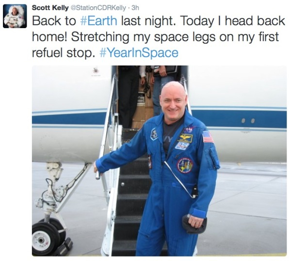 Tweet by Kelly on his first day back on Earth.