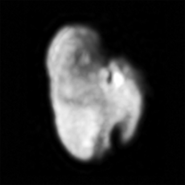 One of Pluto's smaller moons Hydra, imaged by New Horizons on July 14, 2015 from a distance of about 143,000 miles (231,000 km). (NASA/JHUAPL/SwRI)