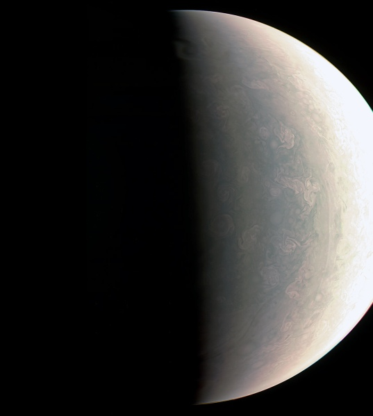 Juno's view of Jupiter from Aug. 27, 2016 from 48,000 miles away. (NASA/JPL-Caltech/SwRI/MSSS)