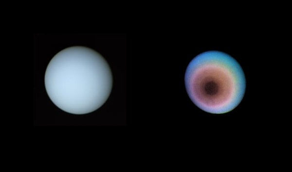True-color (left) and false-color views of Uranus. January 17, 1986. Range 5.7 million miles. (NASA/JPL)