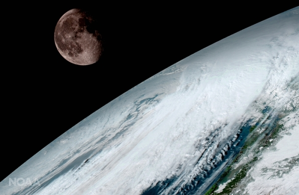 GOES-16 image of the Moon beyond Earth's limb taken Jan. 15. GOES-16 uses the Moon for calibration purposes. (NASA/NOAA)