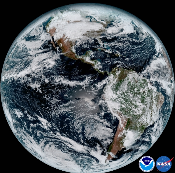 Full disk image of Earth from GOES-16 on Jan. 15, 2017. (NOAA/NASA)