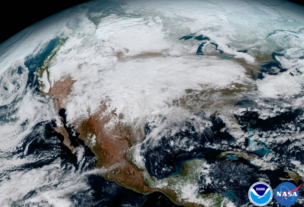 GOES-16 image of North America on Jan. 15, 2017. (NOAA/NASA)
