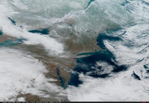 Northeastern U.S. from GOES-16 on Jan. 15, 2017. (NOAA/NASA)