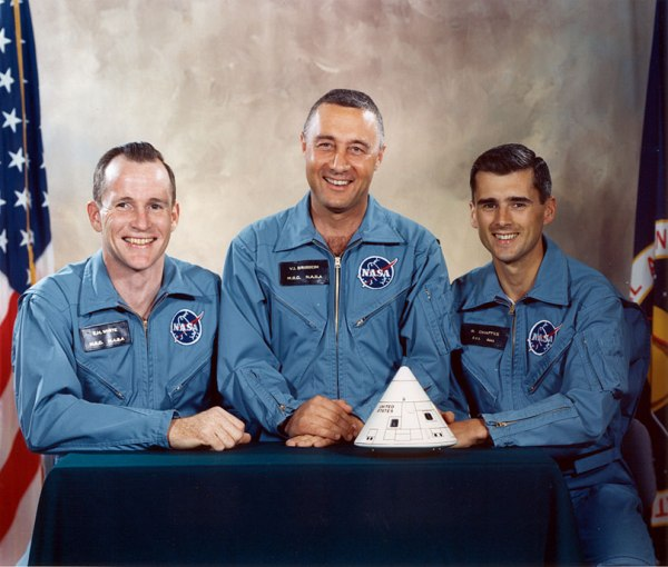Apollo 1 astronauts (bottom to top) Virgil I. Grissom, Edward H. White II and Roger B. Chaffee pose on the steps leading to the Apollo Mission Simulator at the Kennedy Space Center on January 19, 1967 (NASA/Ed Hengeveld)