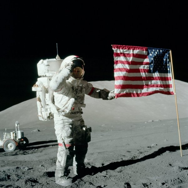 Gene Cernan saluting the U.S. flag on the Moon, Dec. 11, 1972. (NASA)