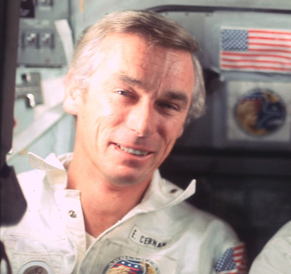Photo of Gene Cernan in the Apollo 17 CSM during return from the Moon in 1972. (NASA/JSC)