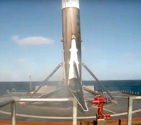 Falcon 9 first stage after a bullseye landing on the deck of Just Read the Instructions on Jan. 14, 2017. (SpaceX live video)