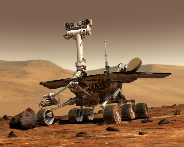 Illustration of the Opportunity rover on Mars. (NASA/JPL)