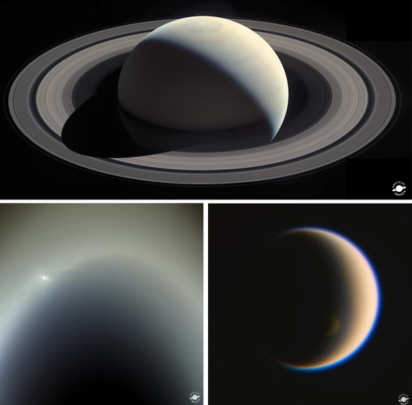 Amateur-processed images from Cassini. Top: Saturn mosaic by Ian Regan; Lower left: Enceladus in the E Ring by Val Klavans; Lower right: Crescent Titan by Jason Major.