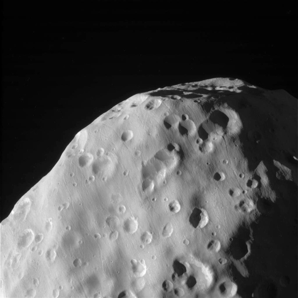 View of Epimetheus from Cassini on Jan. 30, 2017 (NASA/JPL/SSI)