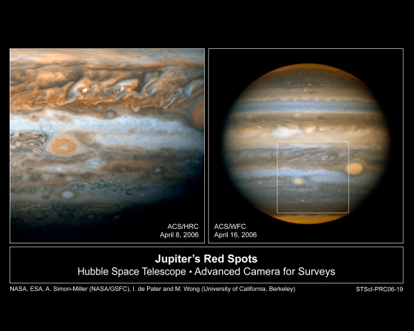 Hubble images of Jupiter and Oval BA. Credit: NASA, ESA, A. Simon-Miller (NASA/GSFC), and I. de Pater (University of California Berkeley)