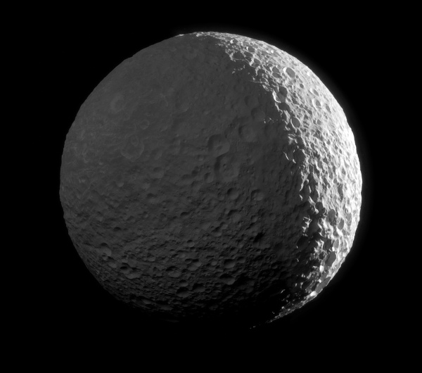 Composite image of Mimas made from raw Cassini images acquired on Jan. 30, 2017. (NASA/JPL-Caltech/SSI/J. Major)