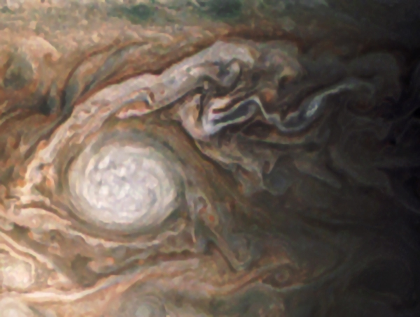 "Enhanced image of Oval BA, aka ""Red Spot Jr.,"" from NASA's Juno spacecraft. Credit: NASA/SwRI/MSSS/Jason Major"