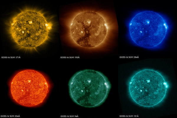 These images of the sun were captured at the same time on January 29, 2017 by the six channels on the SUVI instrument on board GOES-16 (Credit: NOAA)
