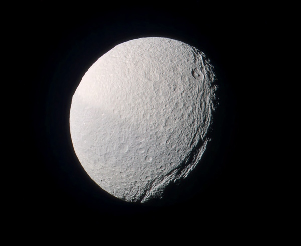 Color-composite image of Tethys from Feb. 1, 2017 (NASA/JPL-Caltech/SSI/J. Major)