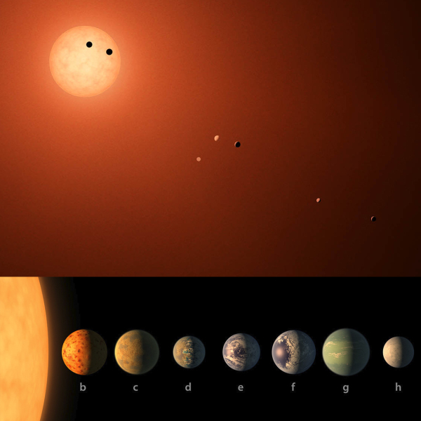 Artist's interpretation of the TRAPPIST-1 system, which contains at least seven rocky exoplanets. Credit: NASA/JPL-Caltech/R. Hurt (IPAC).