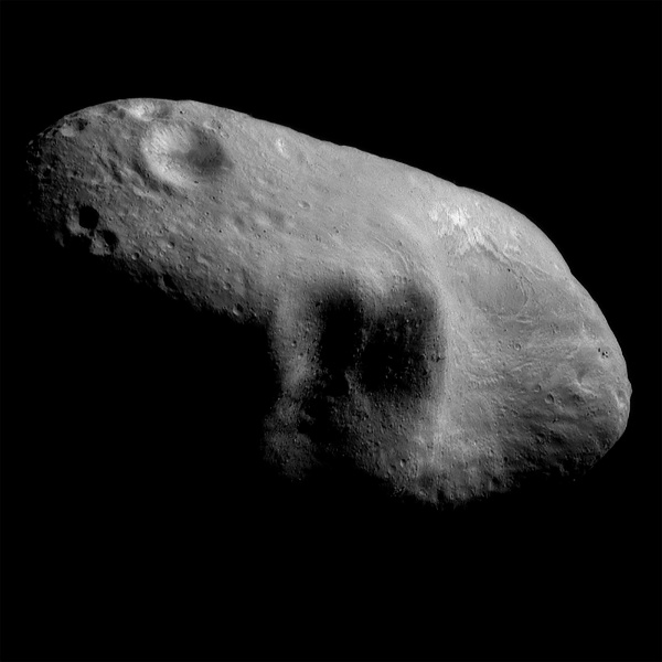 The asteroid Eros imaged by NEAR Shoemaker on March 3, 2000. (NASA/JPL/JHUAPL)