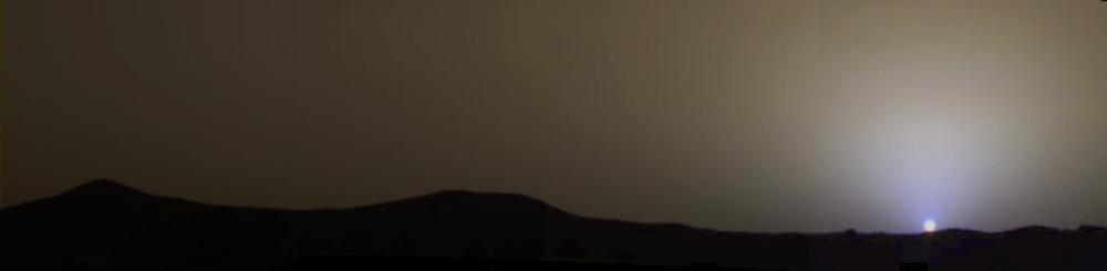 A four-panel, true-color mosaic of a sunset on Mars captured from the Pathfinder lander on July 28, 1997. (NASA/JPL-Caltech)