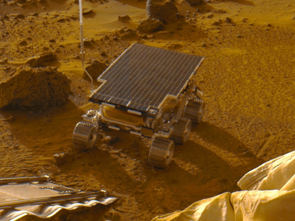 The Sojourner rover on Mars after deployment on July 5, 1997. (NASA/JPL-Caltech)